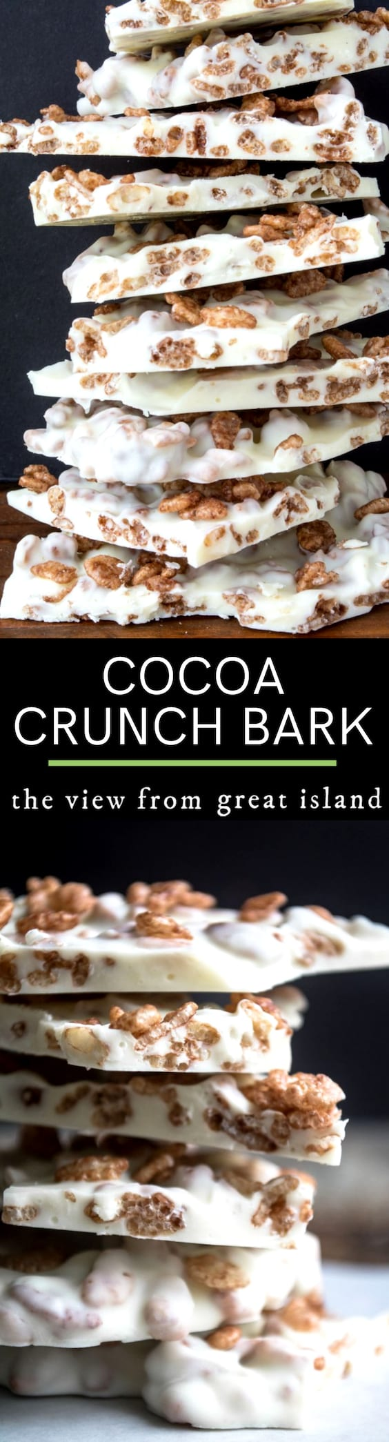 My 2-Ingredient Cocoa Crunch Bark is like a homemade version of a Nestle's Crunch bar, only turned on its head with a creamy white chocolate base and Cocoa Krispies for the crunch. #candy #bark #whitechocolate #candybar #homemade #easy #recipe #chocolate #microwave #crispy #dessert #cereal
