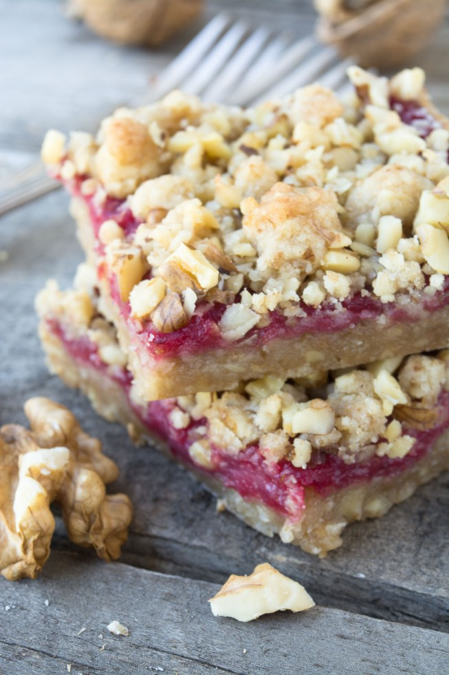 Canberry Walnut Shortbread Bars made with a bright zingy homemade cranberry curd
