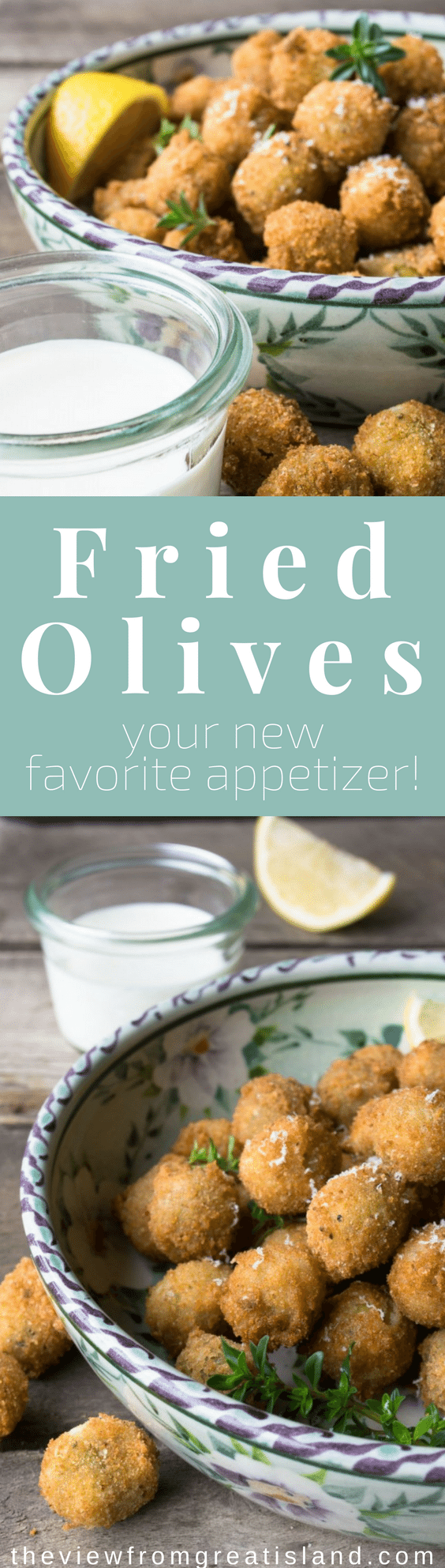 Fried Olives are the best little appetizers in the world ~ they're crisp on the outside, warm and juicy on the inside ~ dip them in a little garlicky aioli and you'll be in heaven, guaranteed! #appetizer #olives #fingerfood #superbowl #gameday #holidayappetizer #partyfood #cocktailparty