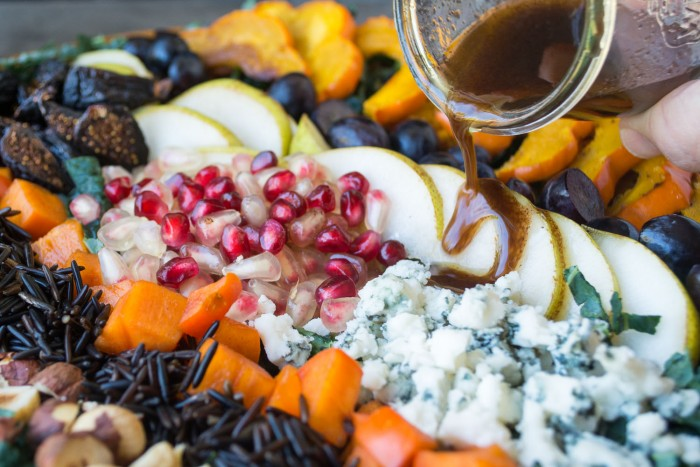 Harvest Kale Salad with Pomegranate Allspice Dressing