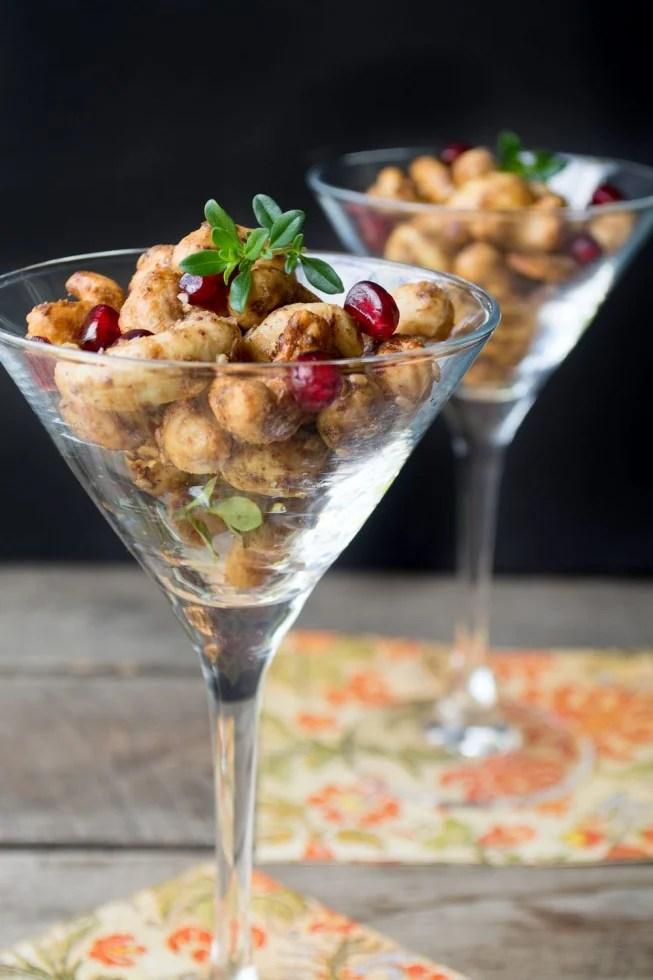 single serving spiced cashews in martini glasses