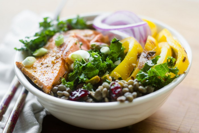 Salmon Bowl with Kale and Lentils