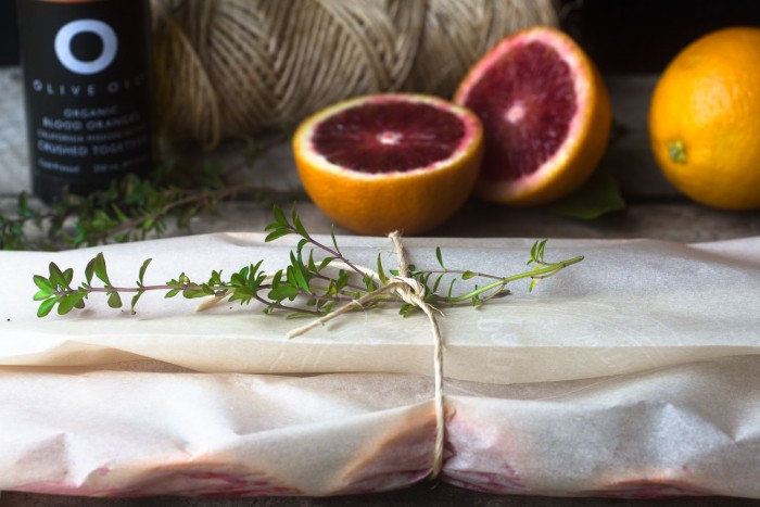 Fish with blood oranges and thyme cooked en papillote