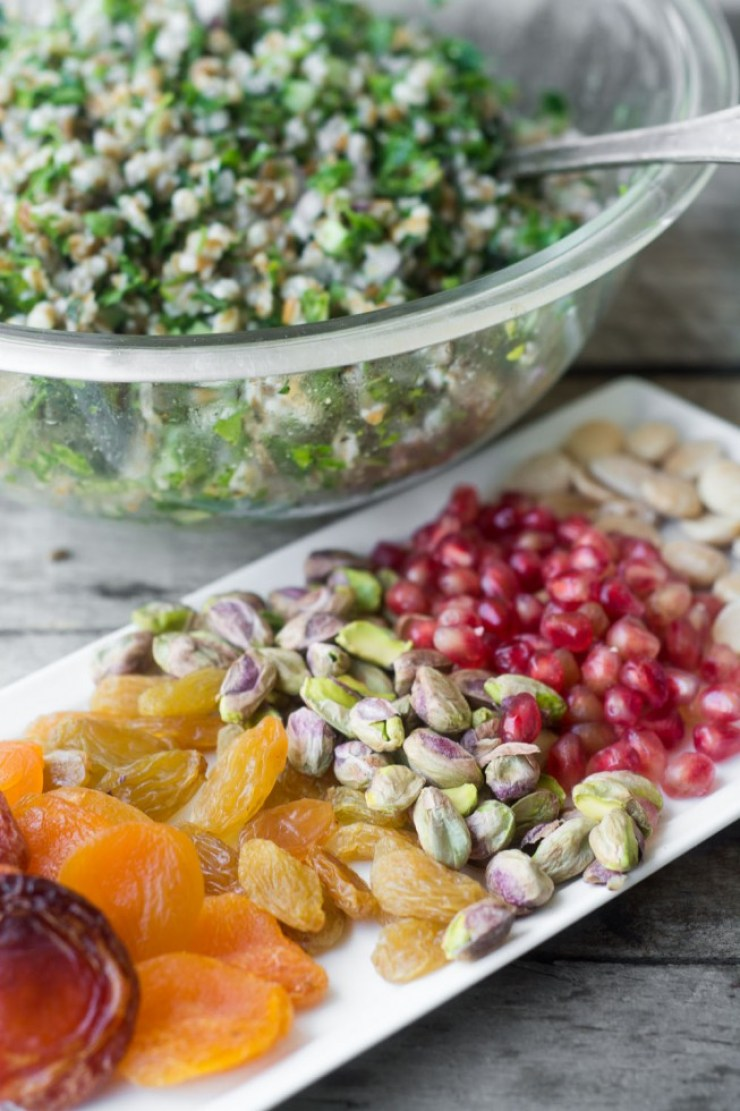 Beautiful fruits and nuts for Jeweled Tabbouleh Salad