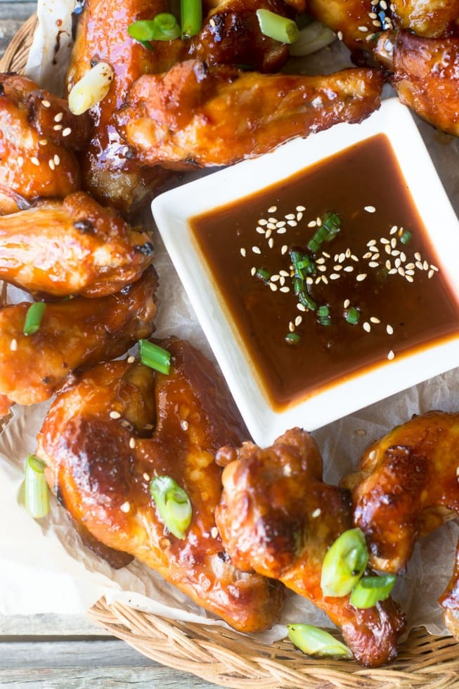 Mahogany Chicken Wings burnished with a gorgeous deep brown glaze --- and the meat is fall off the bone tender!