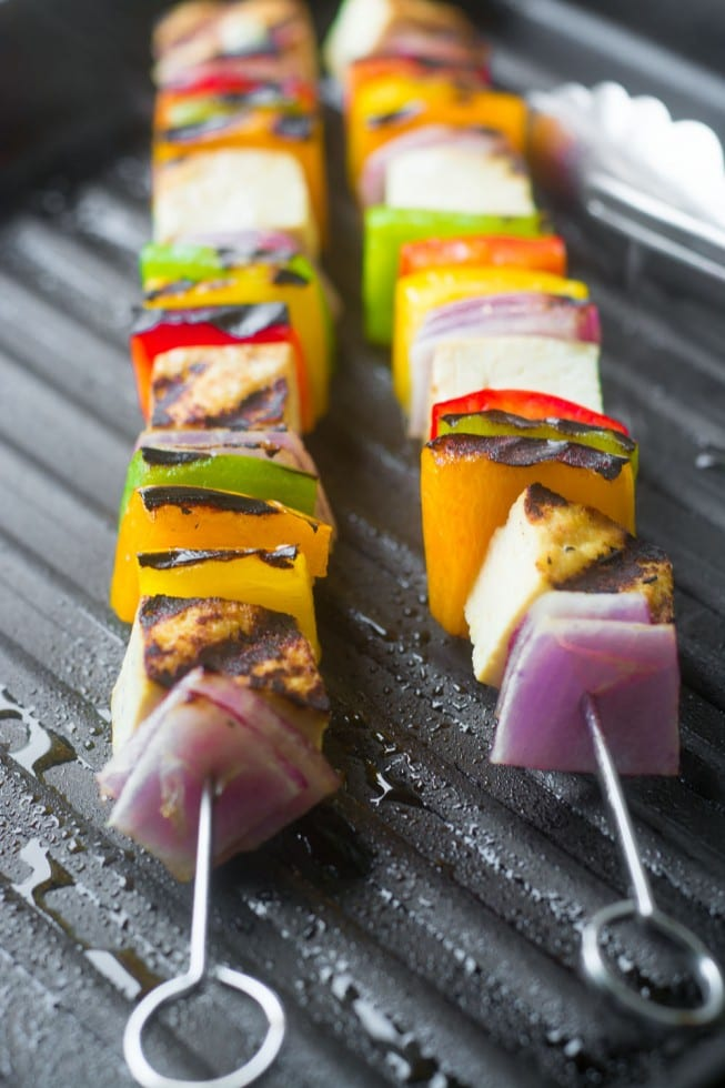 Easy and healthy Tofu Skewers grill right on the stove top