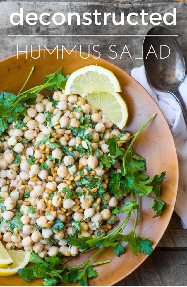 Deconstructed Hummus Salad is a simple chickpea salad with all the components of a great hummus, and I think you'll find lots of other uses for the creamy lemon tahini dressing, too... #salad #hummus #healthy #chickpea #middleeastern #memorialday #4thofjuly #barbecue #sidedish #summer #glutenfree #beans #legumes #chickpeas #garbanzobeans #beansalad