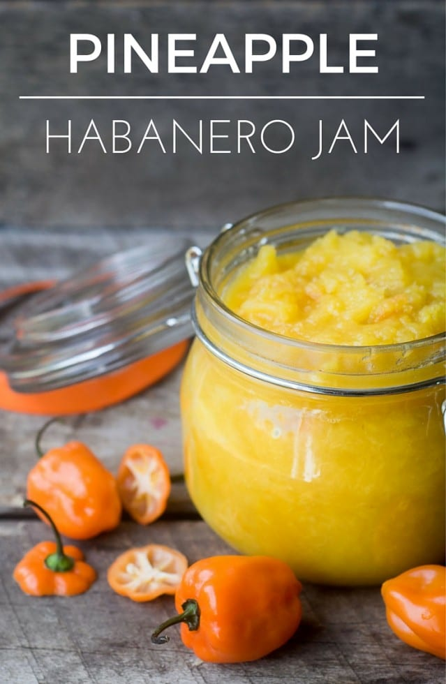 Pineapple Habanero Jam is a delicious no-sugar, no-pectin recipe --- the heat and the sweet will duke it out in your mouth, and cheese and crackers will never be the same again. #appetizer #pineapple #hotpepperjelly #hotpepperjam #cheeseandcrackers #habanero #pepperjelly