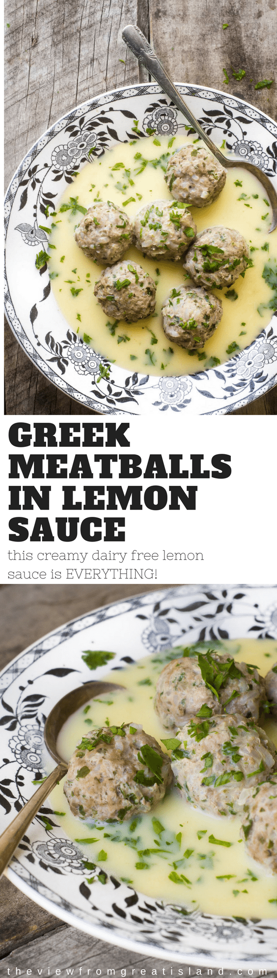 Greek Meatballs in Lemon Sauce is the ideal spring supper --- the herbed meatballs are satisfying but light in texture, and the pale yellow sauce is tangy, silky, and utterly luxurious without any cream or butter whatsoever. #Greek #meatballs #lemon #dinner #pork #lamb #Mediterranean #lemonsauce