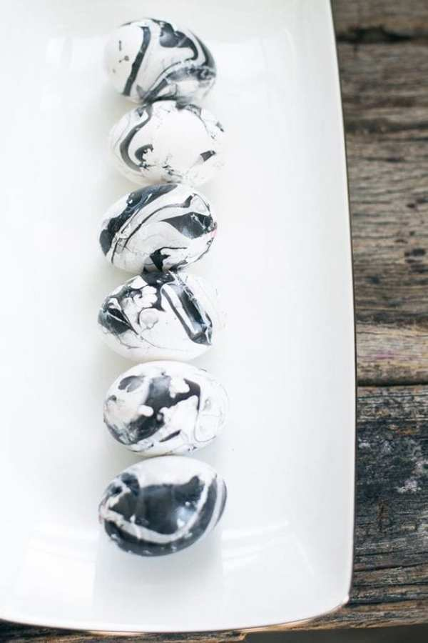 BLACK AND WHITE MARBLED EGGS by Hello Glow