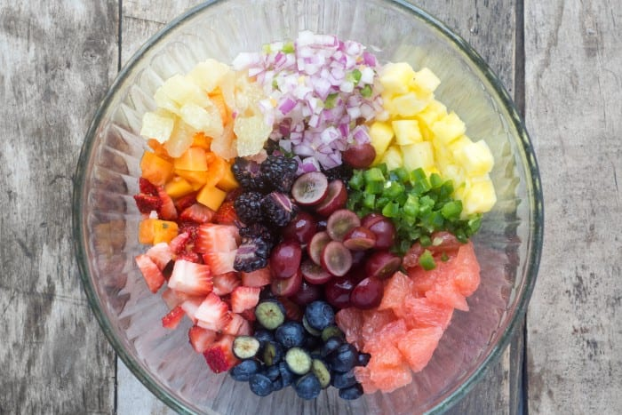 Spicy Fruit Salsa is made with fresh fruit, a touch of red onion, and minced jalapeno pepper --- it goes on anything and everything! | theviewfromgreatisland.com