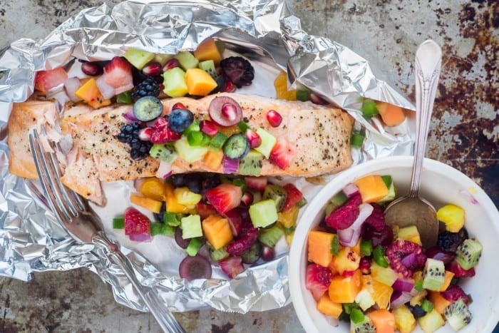 Spicy Fruit Salsa is the perfect healthy accompanyment to grilled fish, meats, and chicken --- it's packed with flavor and looks so festive! | theviewfromgreatisland.com