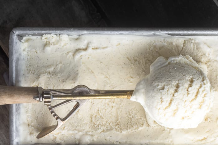 No Churn Vanilla Bean Ice Cream is quick and easy and full of intense vanilla flavor! | theviewfromgreatisland.com