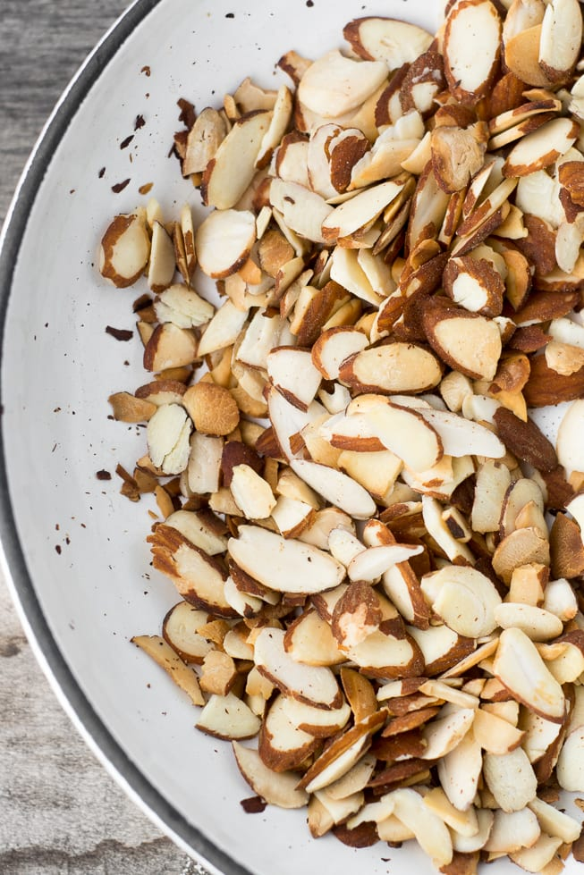 Toasting almonds for a Toasted Almond Milkshake | theviewfromgreatisland.com