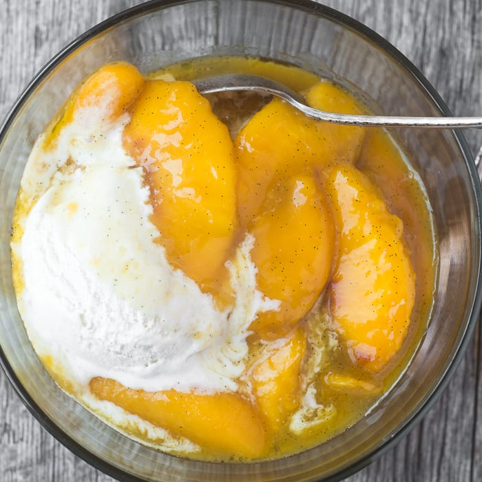 Bourbon Fried Peaches with Ice Cream