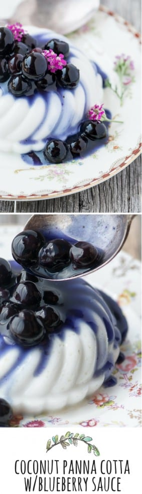 Coconut Panna Cotta with Blueberry Sauce is a vegan twist on a classic Italian dessert --- it's easy to make and looks gorgeous on the plate! | theviewfromgreatisland.com