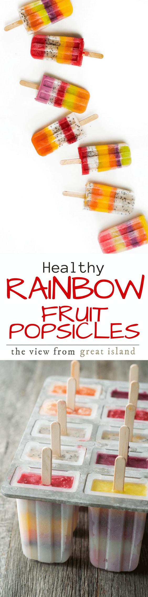 Healthy frozen fruit popsicles are made with exotic fruits like mango, dragon fruit, papaya, golden kiwi and black raspberry. #popsicles #kids #rainbowfruit #fruitpopsicles #nosugarpopsicles #fruitdessert #fruitjuice #fruitpuree