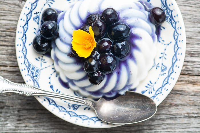 Vegan Coconut Panna Cotta with Blueberry Sauce ~ theviewfromgreatisland.com