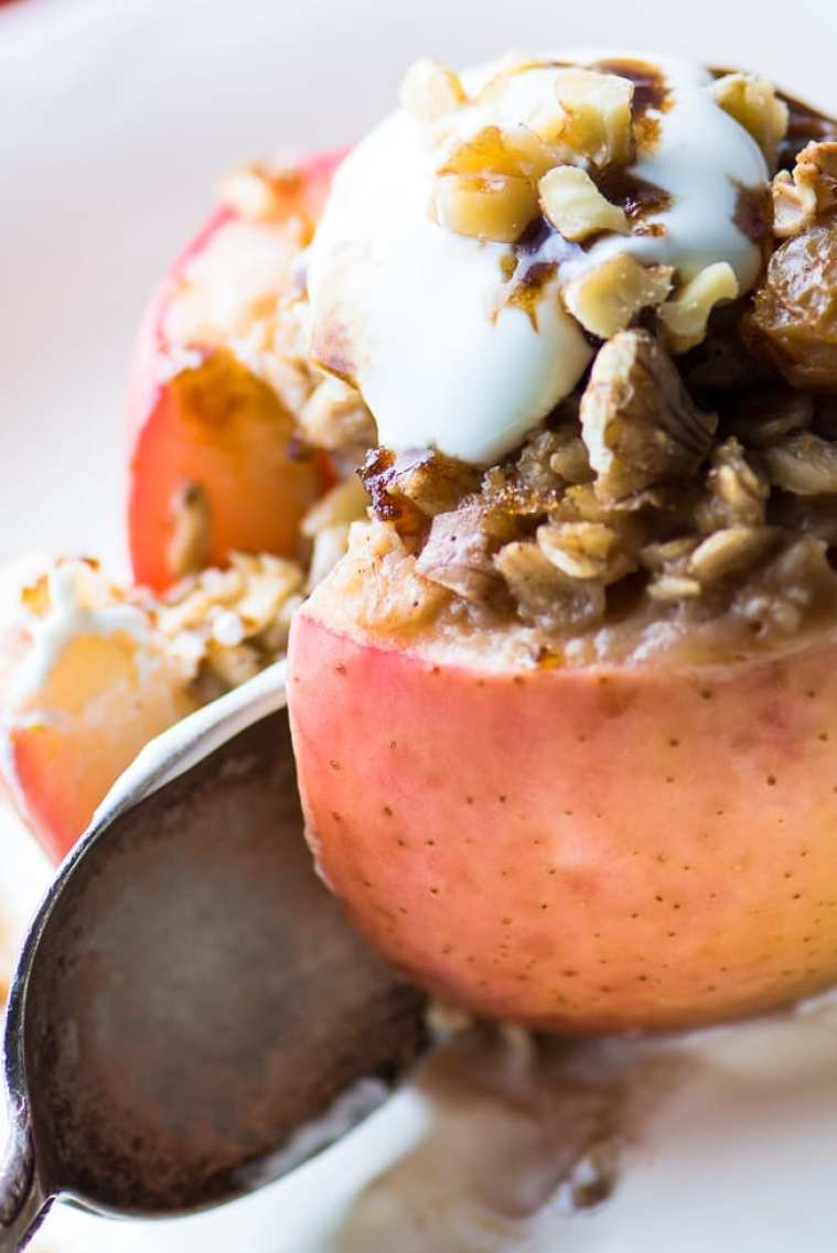 Baked Breakfast Apples stuffed with oatmeal, raisins, and walnuts ~ theviewfromgreatisland.com