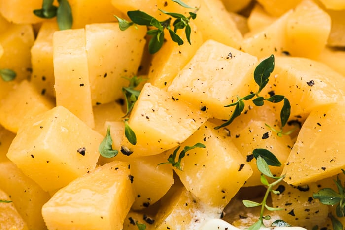 Buttered Rutabaga, a quick and easy rustic side dish for the holidays ~ theviewfromgreatisland.com