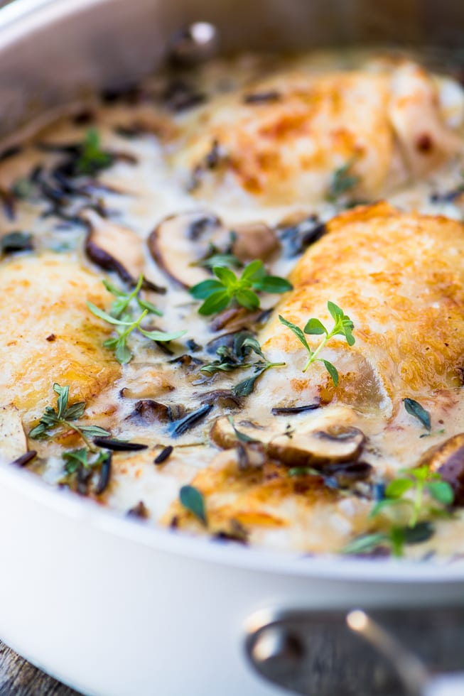 Creamy Chicken with Wild Rice and Mushrooms is the perfect fall one pot meal! ~ theviewfromgreatisland.com