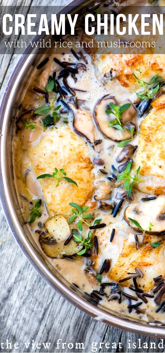 Creamy Chicken with Wild Rice and Mushrooms ~ this earthy, stick-to-your-ribs skillet dinner is ideal for a chilly fall night! #chicken #bestchickenthighrecipe #chickenthighrecipe #comfortfood #fall #wildrice #mushrooms #easychickenrecipe #deliciouschicken #dinner #creamofmushroom #chickenandrice