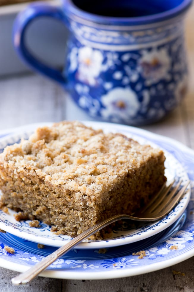 Gingerbread Crumb Cake is a moist fluffy spiced coffee cake perfect for a fall morning! ~ theviewfromgreatisland.com