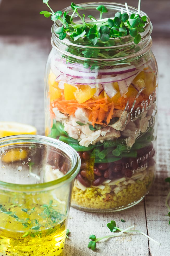 A healthy rainbow of ingredients in this layered Tuna Salad Mason Jar ~ theviewfromgreatisland.com