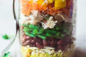 Healthy and colorful Tuna Salad Mason Jars ~ theviewfromgreatisland.com