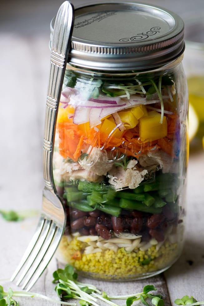 A pretty and healthy layered Tuna Salad Mason Jar ~ theviewfromgreatisland.com