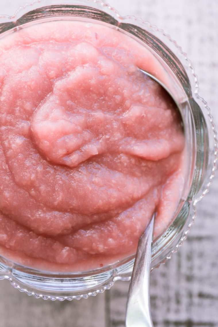 Gorgeous Pink Applesauce made with no sugar, in 20 minutes! ~ theviewfromgreatisland.com