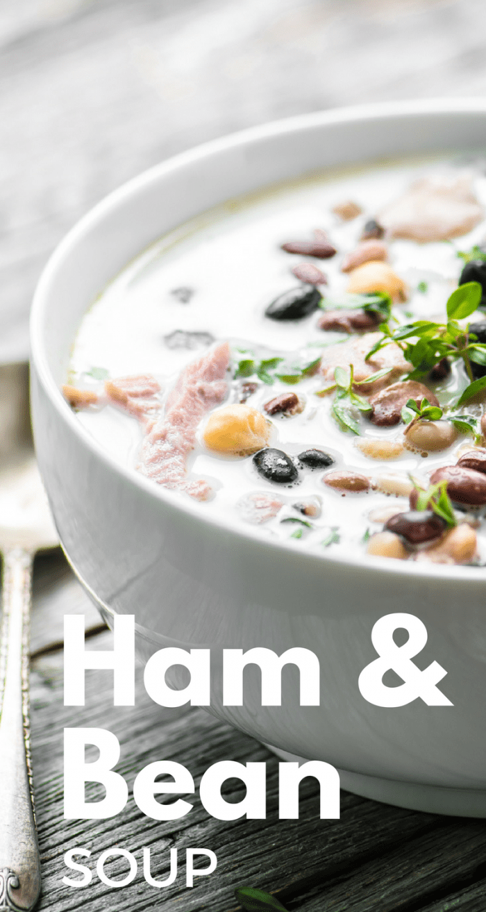 Creamy Ham and Bean Broth is a luxe way to use up a leftover ham ~ I make a big pot of this wonderful chowder, it only gets better as it sits. #soup #leftoverham #ham #beans #legumes #beansouprecipe #bestbeansoup #driedbeans #creamysoup #lunch #dinner #chowder #stew