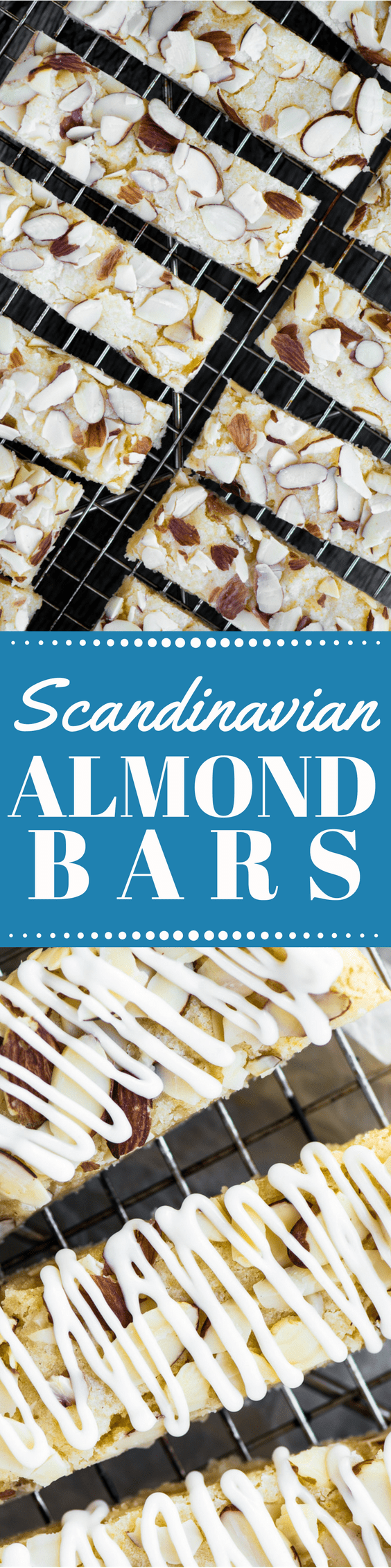 Scandinavian Almond Bars are soft, chewy shortbread bars jam packed with almond flavor ~ they freeze beautifully, and make fabulous holiday gifts. #bars #almondbars #Christmascookies #holidaycookies #almonds #shortbread #almondshortbread #shortbreadbars #dessert #holidaydessert #christmasdessert #scandinavian #swedish