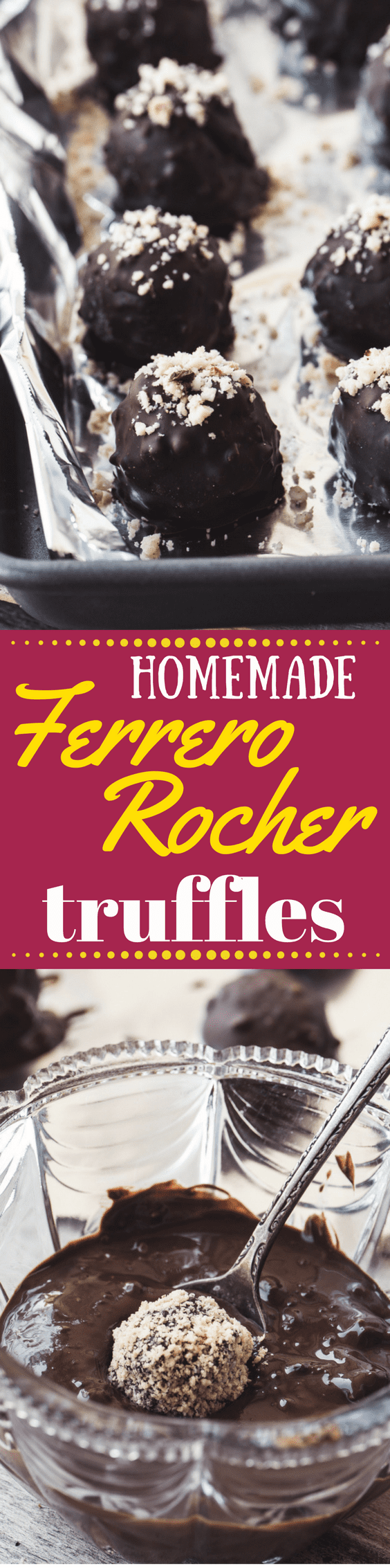 How to Make Homemade Ferrero Rocher Truffles ~ these DIY hazelnut chocolate truffles are going to make you VERY popular with friends and family...#candy #dessert #truffles #chocolate #candy #holidayfoodgift #holidaydessert #christmascandy #easytruffles #trufflerecipe