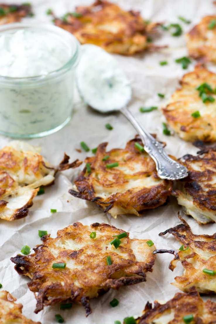 Sweet Onion Latkes with Chive Sour Cream ~ theviewfromgreatisland.com