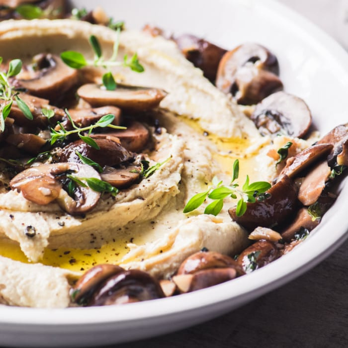 Warm Mushroom Hummus is a healthy hot appetizer that takes hummus to a whole new level!