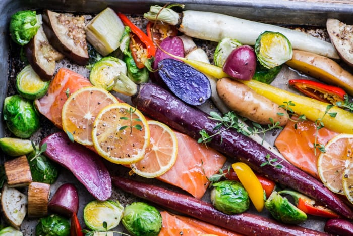 Easy Sheet Pan Salmon with Caramelized Winter Veggies ~ theviewfromgreatisland.com