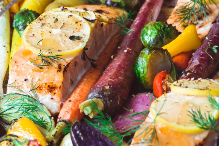Sheet Pan Salmon with Caramelized Winter Veggies ~ theviewfromgreatisland.com