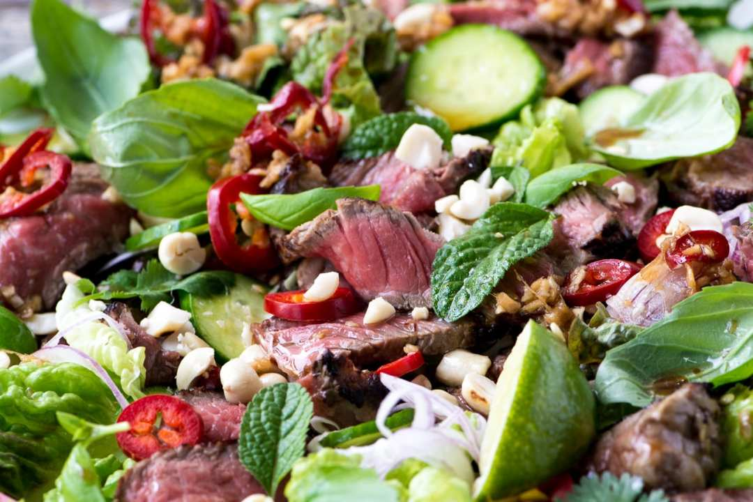 Thai Beef Salad ~ a tangy and spicy steak and herb salad with the distinctive flavors of Thailand!