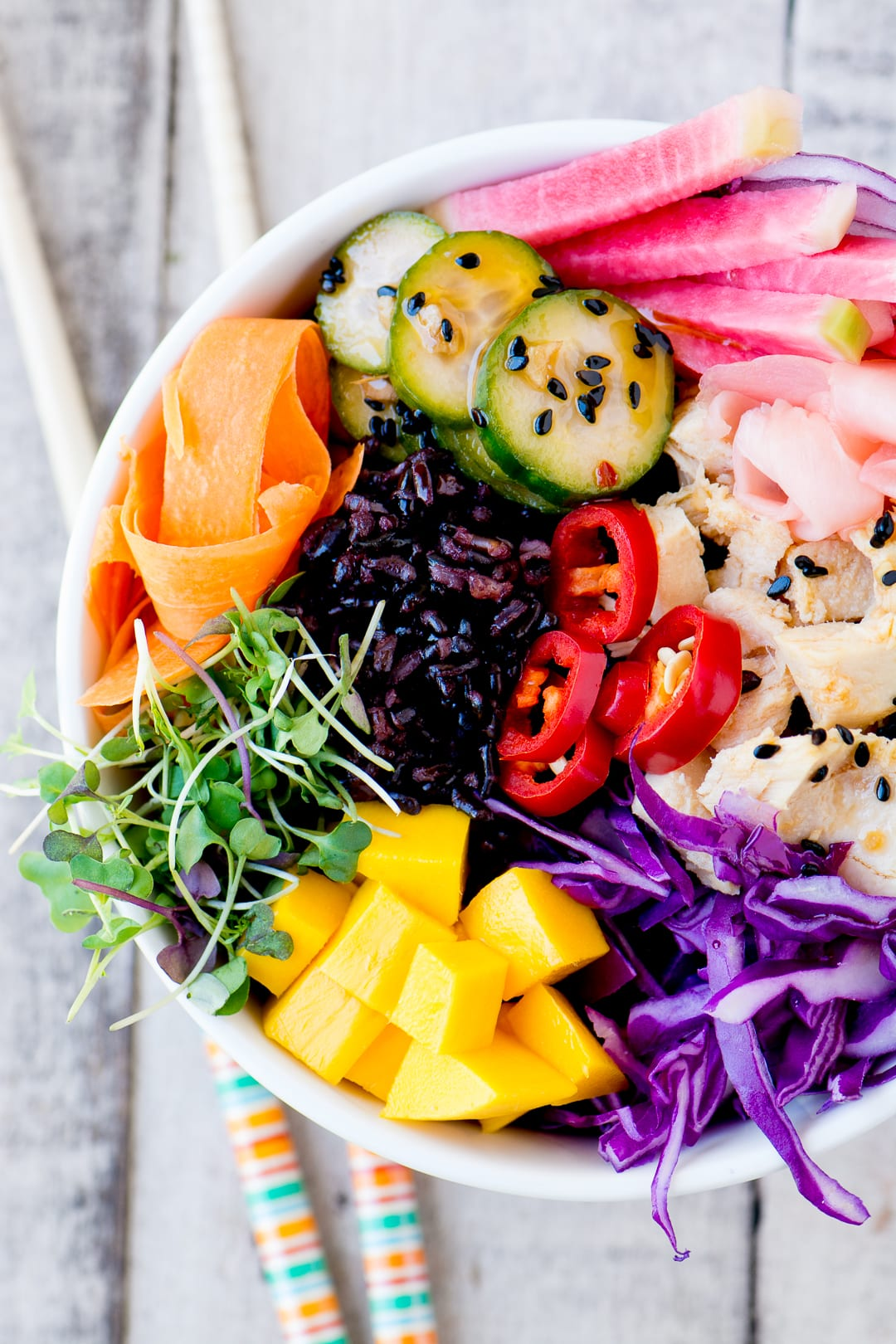 Rainbow Poke Bowl with canned tuna ~ you can have this colorful and healthy Hawaiian favorite any time, anywhere, without having to source sushi grade raw fish ~ it's a win win!