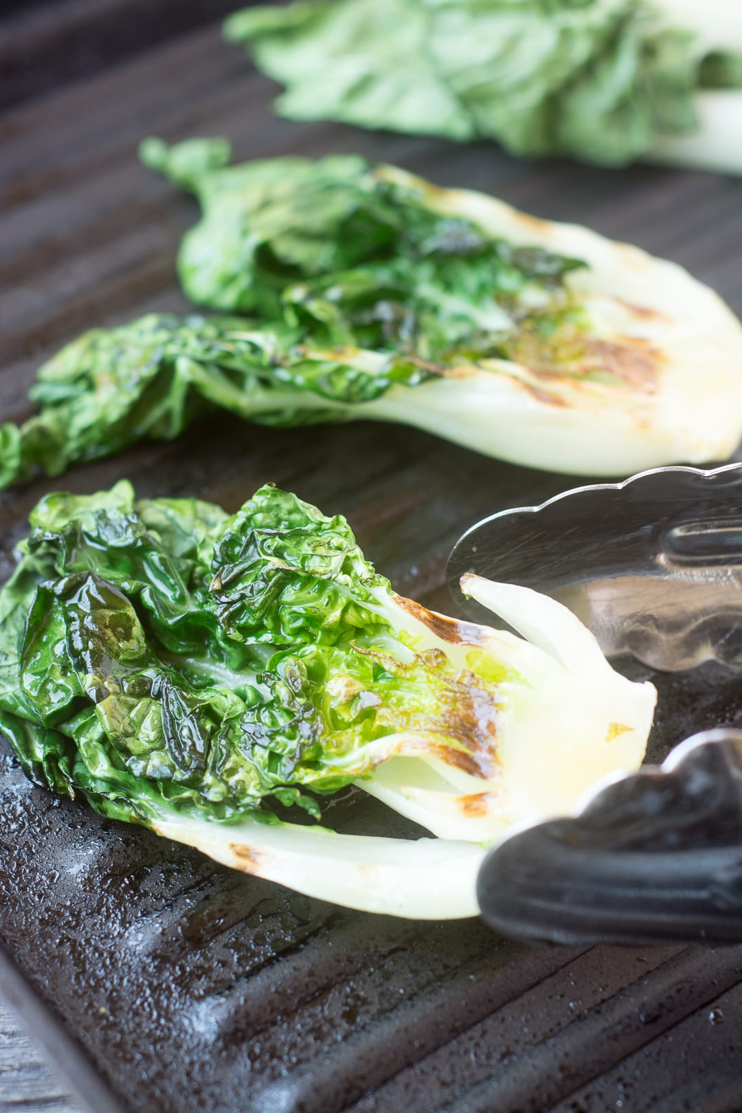 Grilled Baby Bok Choy with a honey sesame glaze