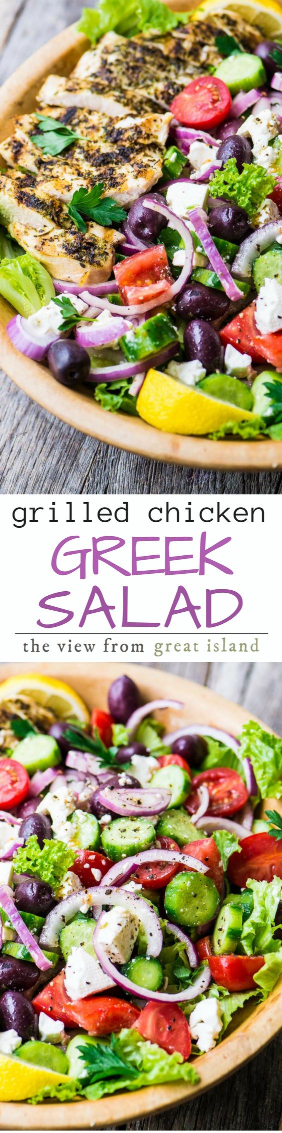 Grilled Chicken Greek Salad ~ if you love a great main course salad in the warmer months like I do, then this vibrant Greek salad topped with lean grilled chicken breast will win you over for sure. It's a light but totally satisfying main course salad. #salad #chicken #grilledchicken #bonelessskinlesschickenbreast #chickenbreast #chickensalad #healthydinner #maincoursesalad #Greek #Greekrecipe