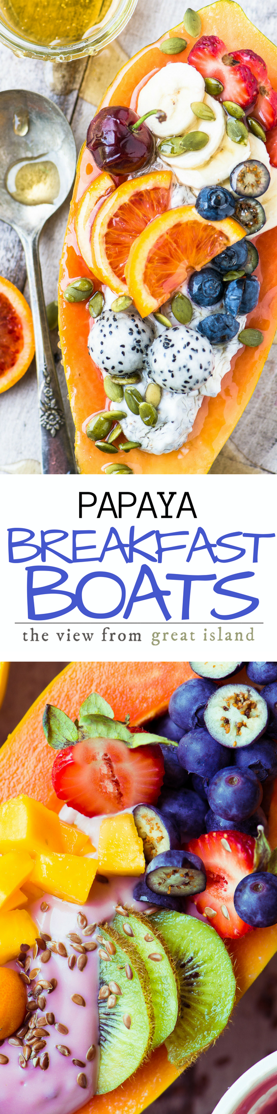 Papaya Breakfast Boats ~ breakfast just got a whole lot more interesting, with gorgeous tropical papaya filled to the brim with non dairy yogurt and colorful fresh fruit. #breakfastbowl #papaya #healthy #yogurt #glutenfree #whole30 #protein #recipe #easy #brunch #fruit #recipe #benefits #smoothie #smoothiebowl