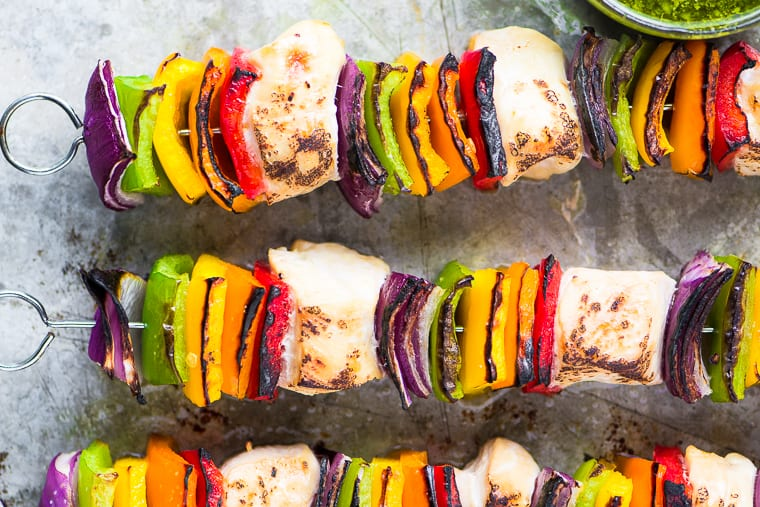 Rainbow Chicken Skewers With Spicy Pesto Sauce The View From Great