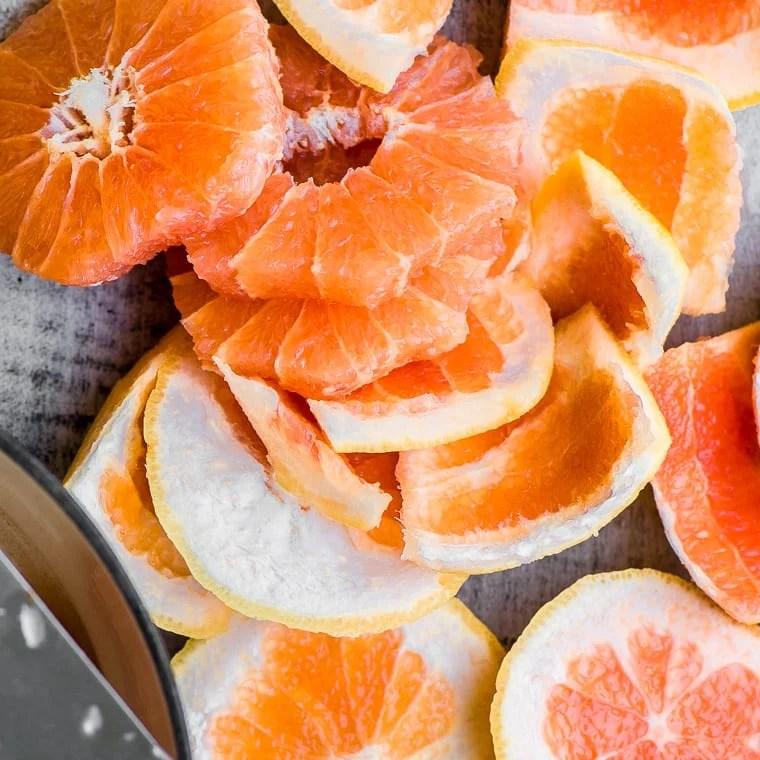 Cutting grapefruit for Pink Grapefruit and Vanilla Bean Jam