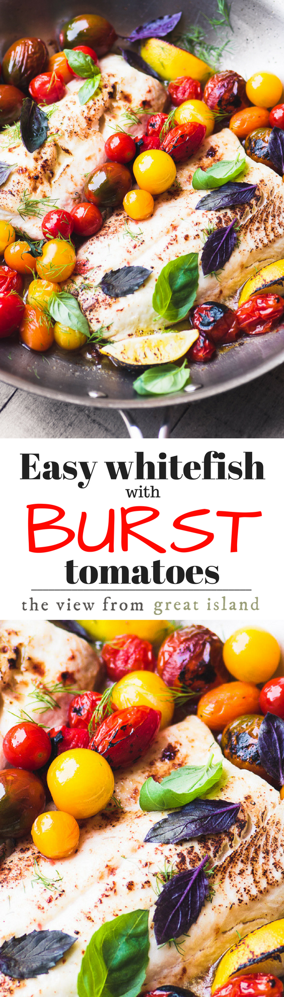 Whitefish with Burst Cherry Tomatoes is possibly the simplest summer meal on the planet ~ it's delicious and it's ready in 15 minutes. #fish #healthy #easyrecipe #easydinner #30minutemeal #onepanmeal #cherrytomatoes #basil #skillet #whitefish #meatless #glutenfree #paleo #whole30 #weightwatchers
