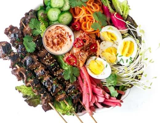 Korean Bulgogi Beef Salad ~ this is steak salad, Korean style! This Korean barbecue inspired salad is topped with richly marinated grilled beef and a variety of veggie 'sides' ~ kimchee optional!