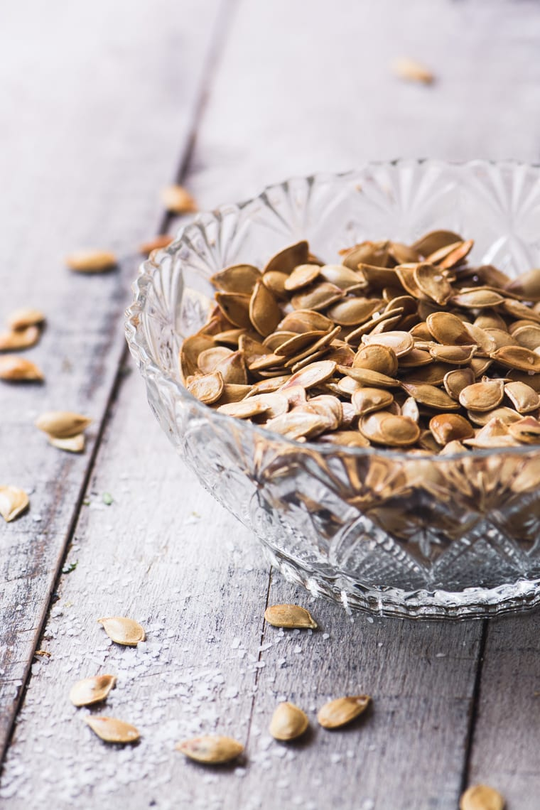 How to Roast Squash Seeds ~ five ways! A bowl of toasted squash seeds