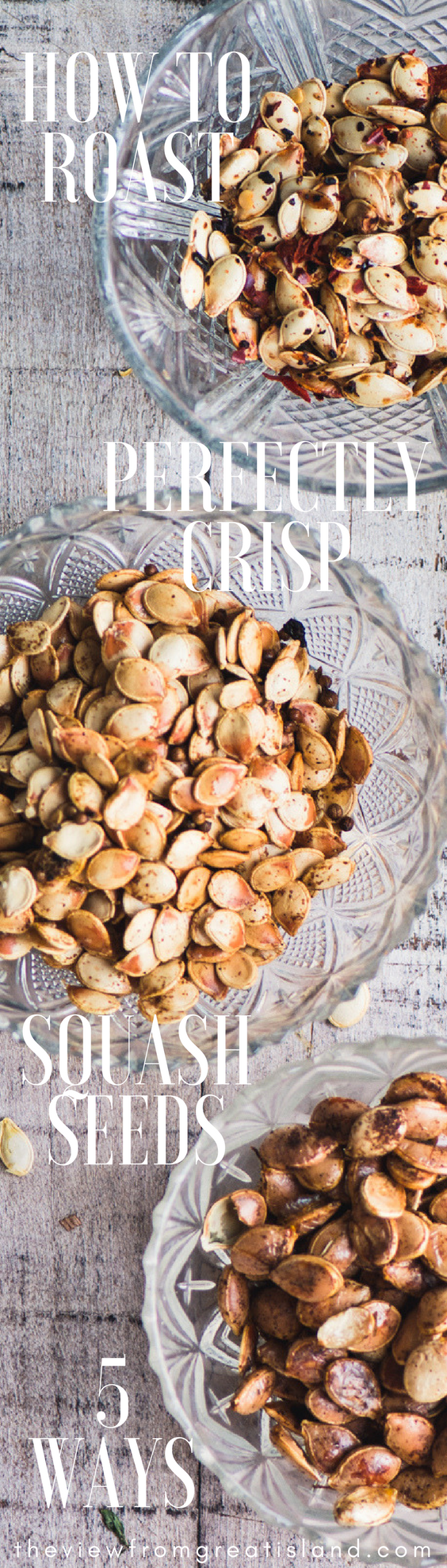 How to Roast Perfectly Crisp Squash Seeds ~ the secret to super crisp and delicious roasted winter squash seeds is simple and oh so easy...I'll show you how to make five different varieties and five different flavors! #roastedsquashseeds #roastedpumpkinseeds #pumpkinseeds #wintersquash #snack #healthysnack #appetizer #paleo #glutenfree #whole30