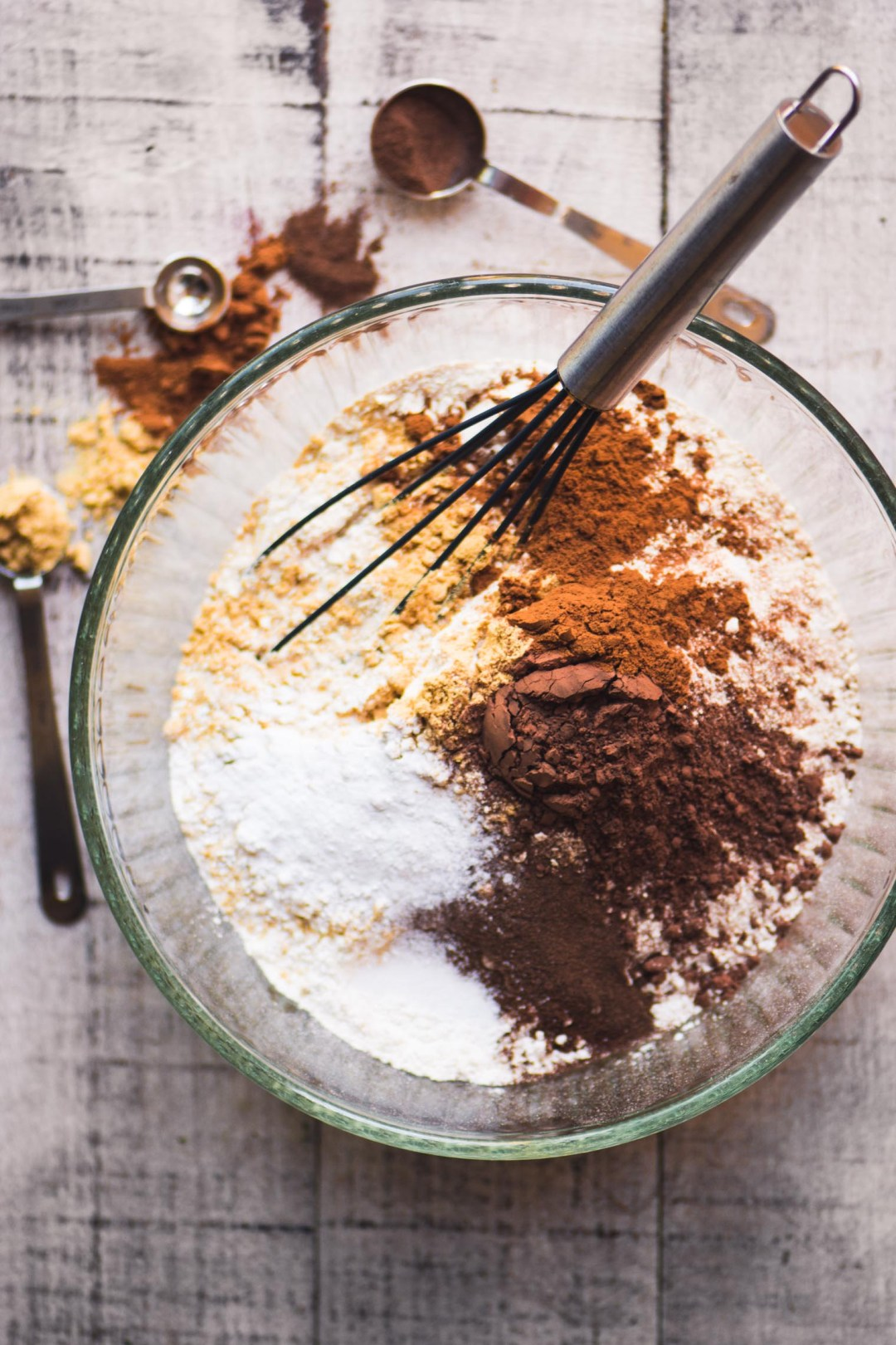 Whisking dry ingredients for easy gingerbread cookies with royal icing